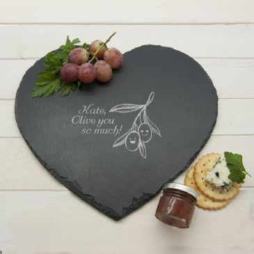 "Olive You So Much"" Heart Slate Cheese Board"""
